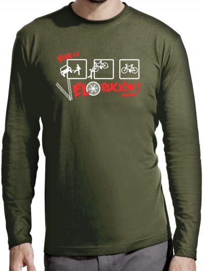 """T-shirt manches longues homme """"Viva la velolucione"""""""