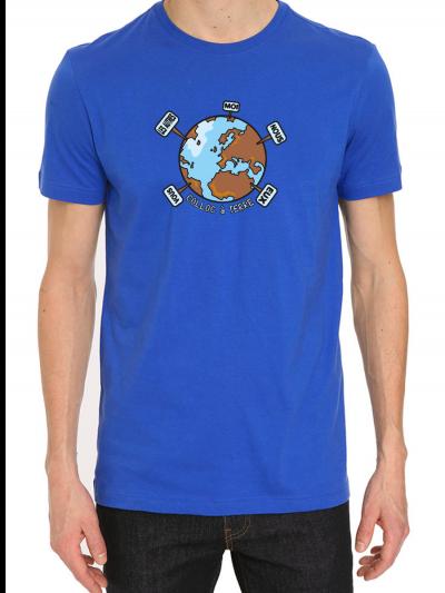 """Tee shirt homme """"coloc à terre"""" bleu en coton biologique"""