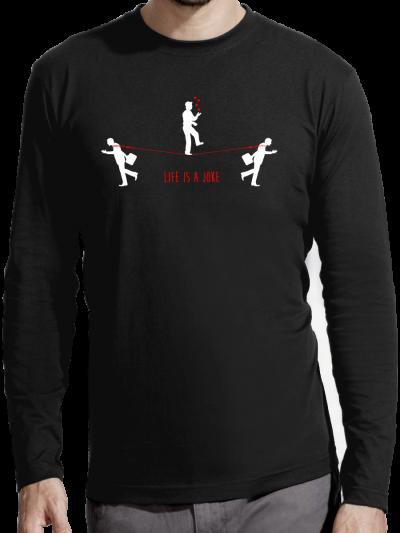"""T-shirt manches longues homme """"Je suis content d'être heureux"""""""