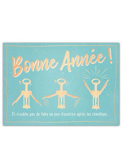 """Carte Postale double """"Bonne année"""""""