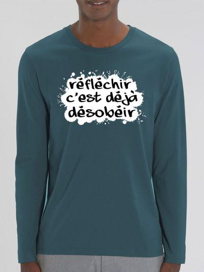 """T-shirt manches longues homme """"Réfléchir"""""""