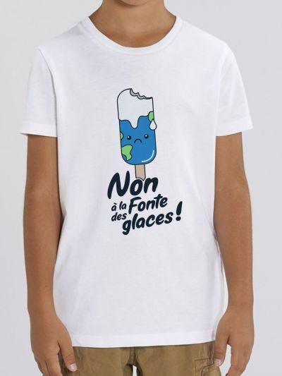 """T-shirt enfant """"NON A LA FONTE DES GLACES"""""""