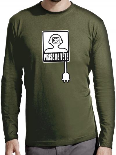 """T-shirt manches longues homme """"Prise de tête"""""""